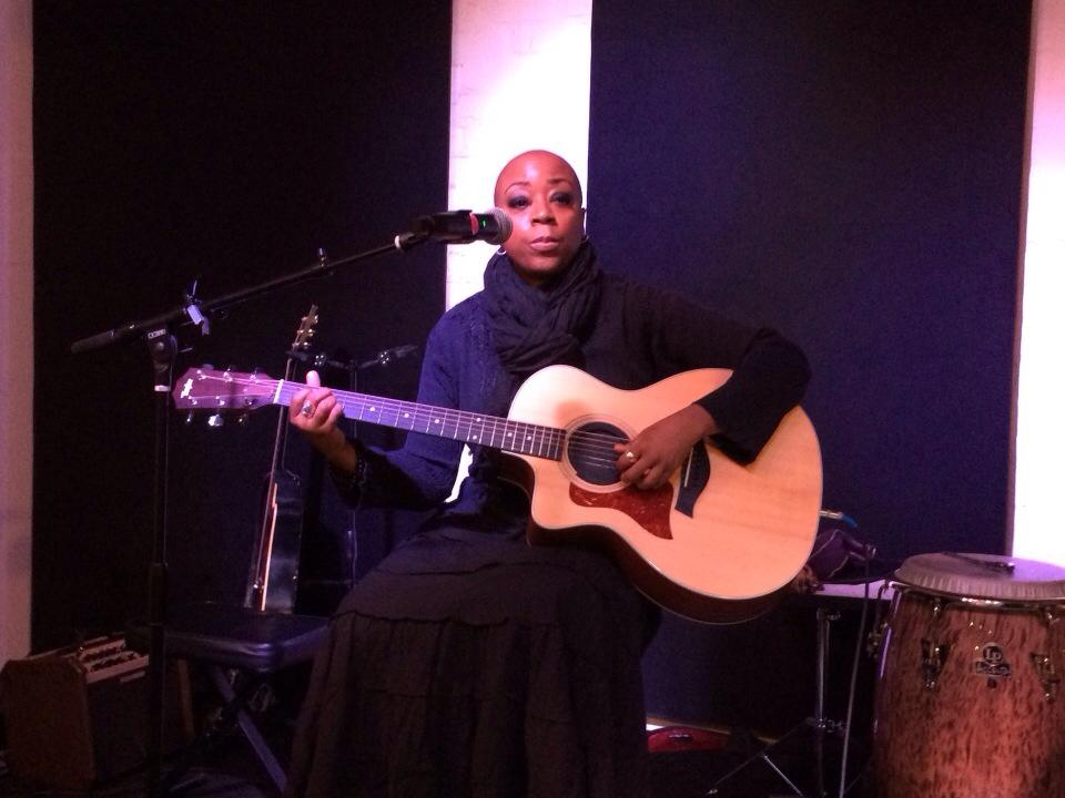 Patsy performing live at Off the Wall music venue in Santa Monica, CA (February 2014); photo by Carol Wrabel